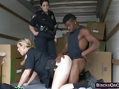 Black dong fucking busty cops truck threesome
