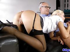 Elegant blonde loves hard cock