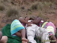 Real outdoor african safari sex