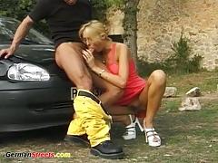 German babe outdoor sex
