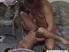 brunette, blowjob, cumshot, facial, milf, shaved, wife, mature