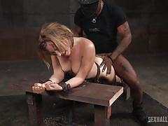 Mona enduring an interracial bdsm punishment