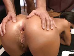 Hairy french slut assfucked gaped double penetrated n facial
