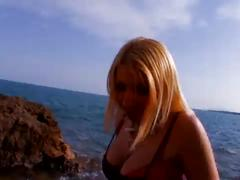 Hot blonde babe fucked hard at the beach
