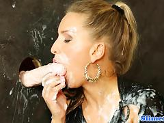 Blonde amateur plastered with cum