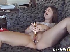Seductive amateur dildo fucks her hot pussy