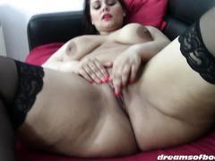 German bbw pawg samantha masturbating in black stockings