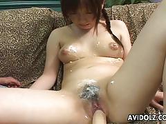 Asian amateur dildo fucks her warm pussy