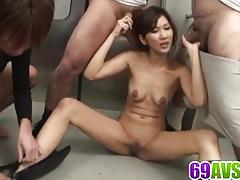 asian, busty, outdoor, shaved pussy, cock sucking, sex toys, cum in mouth, cum on face, cum on tits