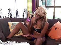 Horny ebony desire rubs and toys her hungry exotic pussy