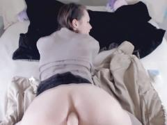 Very hot anal fuck with a dildo and creampie