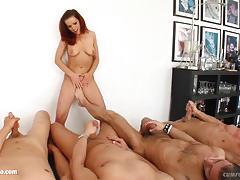 Blowbang group blowjob given by naughty lia