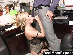 Stocking clad blonde sucking cock