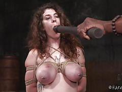 Busty babe gets all of her holes dominated