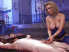 Blonde mistress toying with her sex minion