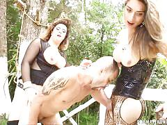Bald guy getting fucked by shemale punishers