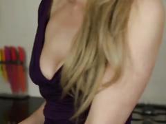 Downblouse bigboobs blonde girl in dress