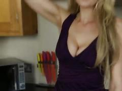 Downblouse bigboobs blonde girl in dress