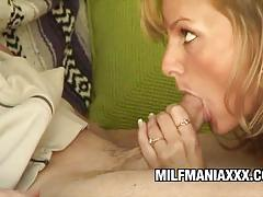 Milf stuffs her mouth with hard cock