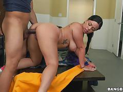 kimmy kush, brunette, blowjob, riding, doggystyle, maid, cowgirl, camera, pov, sucking, licking pussy