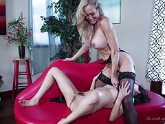 shyla jennings, brandi love, lesbian, stockings, orgasm, pussy licking, suspenders