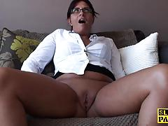 Randy babe plays with her warm pussy