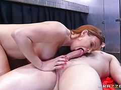 Diamond foxxx blows off her stepson unknowingly at the gloryholes