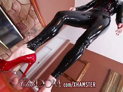 Gorgeous femdom crushes balls and her ass licked