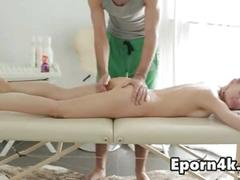 Young blonde girl first time on massage