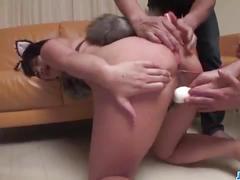 Aika hoshino brunette doll enjoys gangbang sex