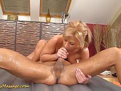 Oiled babe enjoys erotic fuck