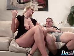 Blonde milf fucked in front of her husband