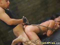 Dominated brunette gets her pussy slammed