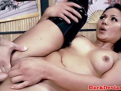 Sexy dominated asian deepthroats then plowed rough