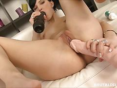 Russian fills her mouth and asshole with insane dildos