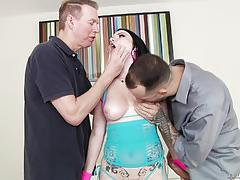 veruca james, brunette, blowjob, riding, cumshot, facial, double penetration, reverse cowgirl, threesome, cowgirl, mmf, dp, sucking, licking pussy