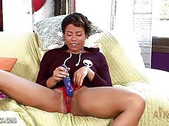 Loving a huge dildo