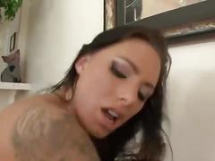 Tatooed brunette pretty asshole anal interracial bbc