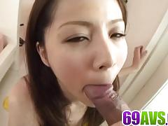 Japanese brunette gets her hairy pussy nailed