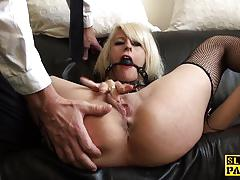 Ball gagged blonde masturbating