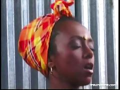 Ebony babe fucked by a hard white cock