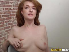 Busty redhead abbey rain plays with bbc at gloryhole