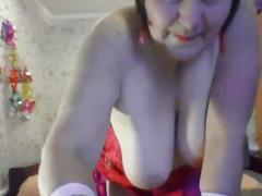 Game grandma in front of webcam