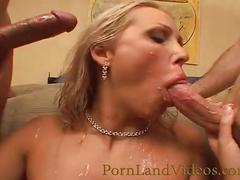 Double penetration threesome fuck with blonde bitch
