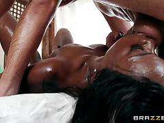 Muff of cute ana foxxx stuffed in her cute black pussy