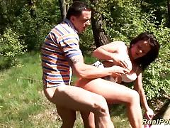 German couple in the woods pussy fuck