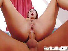 Ass traffic busty redhead spreads her hole and gets thick dick