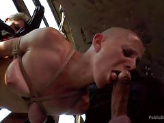 Bald women sucks huge cock in public
