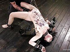 bdsm, babe, torture, vibrator, hairy pussy, clothespins, hot wax, metal bondage, device bondage, kink, the pope, yhivi