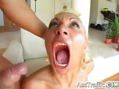 Ass traffic blonde gets her sweet ass pounded and gulps man